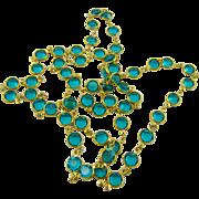 Swarovski Crystal Bezel Set Necklace in Dark Aqua