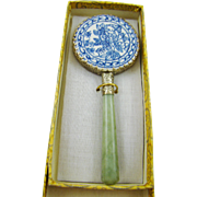 Small Porcelain and Jadeite Hand Mirror