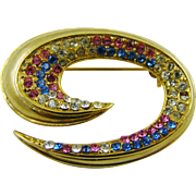Multi-Colored Rhinestone Brooch