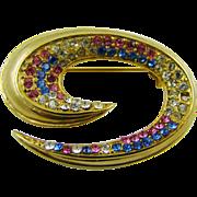Multi-Colored Rhinestone Brooch