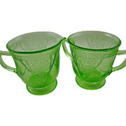 "Georgian ""Lovebirds"" Large Creamer and Sugar Bowl by Federal Glass Company"