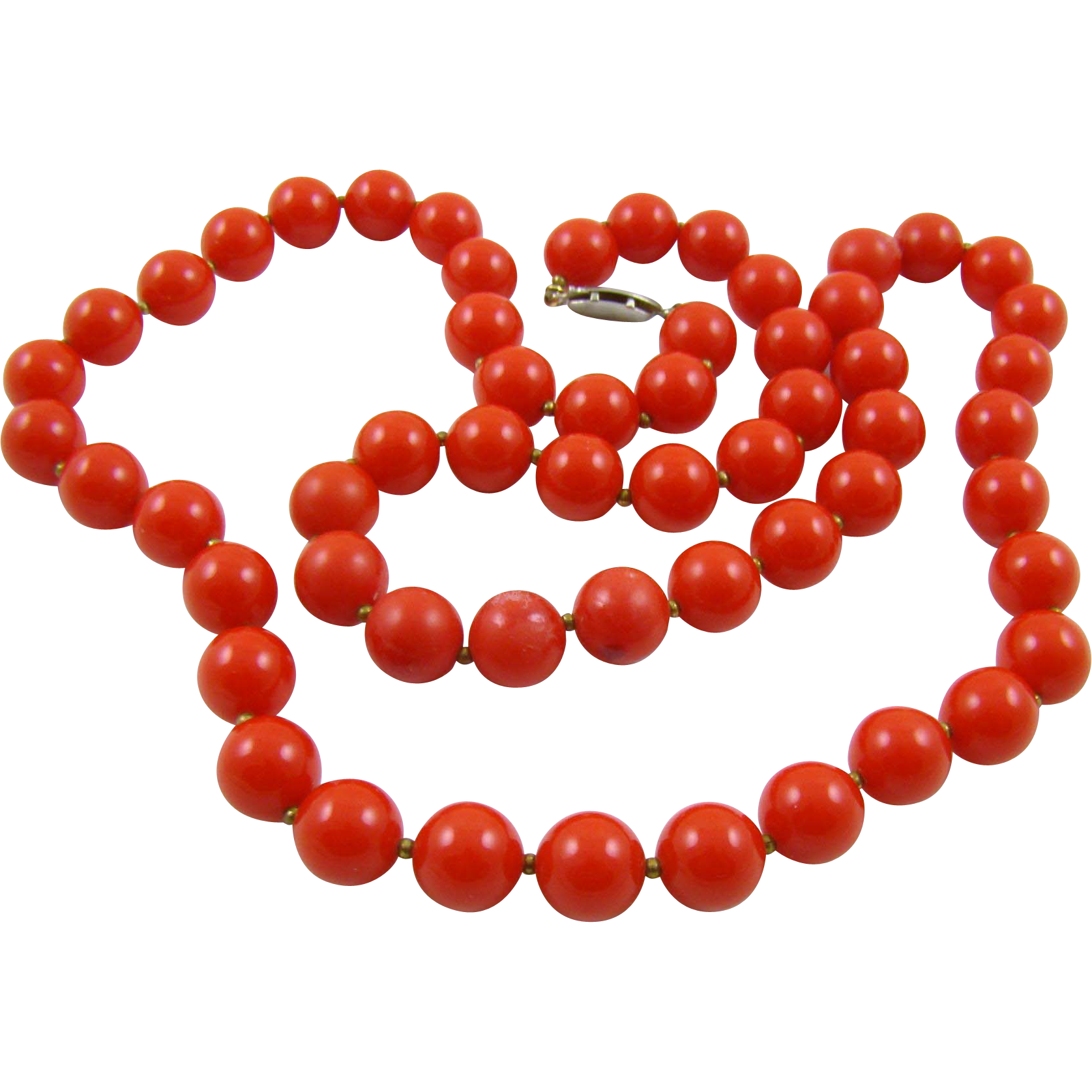 Red Orange Lucite Bead Necklace