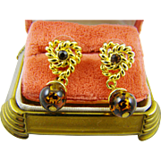 Dark Amber Bead Earrings with Gold Tone