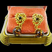 Dark Amber Bead Earrings with Gold Tone