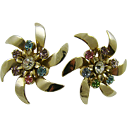 Silver Tone Pinwheel Earrings with Rhinestones