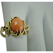 Art Deco 14Kt Gold Coral Ring Size 5 3/4