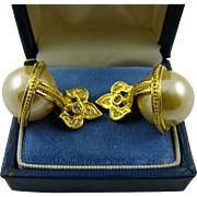 Joan Rivers Fleur de Lis Large Faux Pearl Earrings