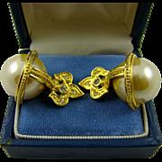 Joan Rivers Fleur de Lis Large Faux Pearl Earrings