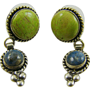 Sterling Silver Green and Blue Turquoise Earrings Signed