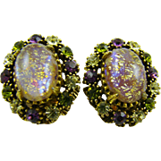 Glitter Easter Egg Cabochon and Rhinestone Earrings
