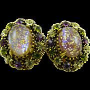 Glitter Easter Egg Cabochon and Rhinestone Earrings