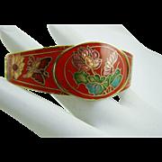 Red Enamel Cloisonne Clamper Bracelet