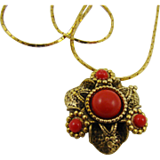 Lipstick Red Cabochon Pendant and Gold Tone Chain