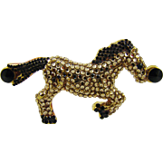 Rhinestone Horse ~ Gold Colored and Black Rhinestones
