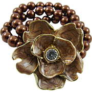 Chocolate Bronze Tone Triple Strand Bracelet with Enamel Flower