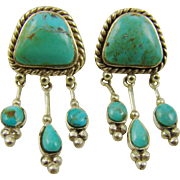 Native American Style Sterling and Turquoise Mini Chandelier Earrings