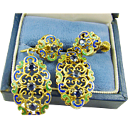 Blue and Green Enamel Filigree Earrings with Sapphire Blue Rhinestones
