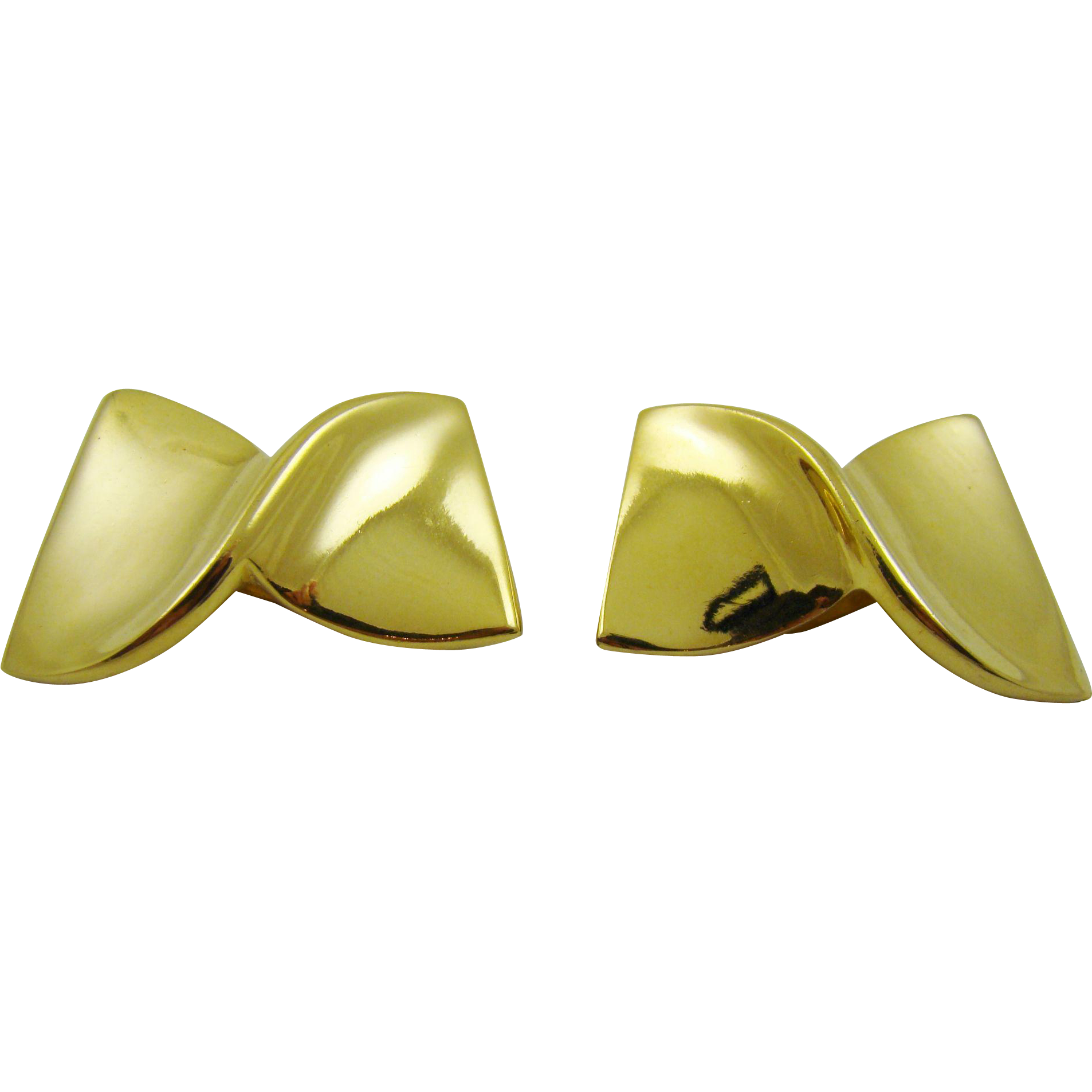 Modernist Twist Gold Tone Givenchy Earrings