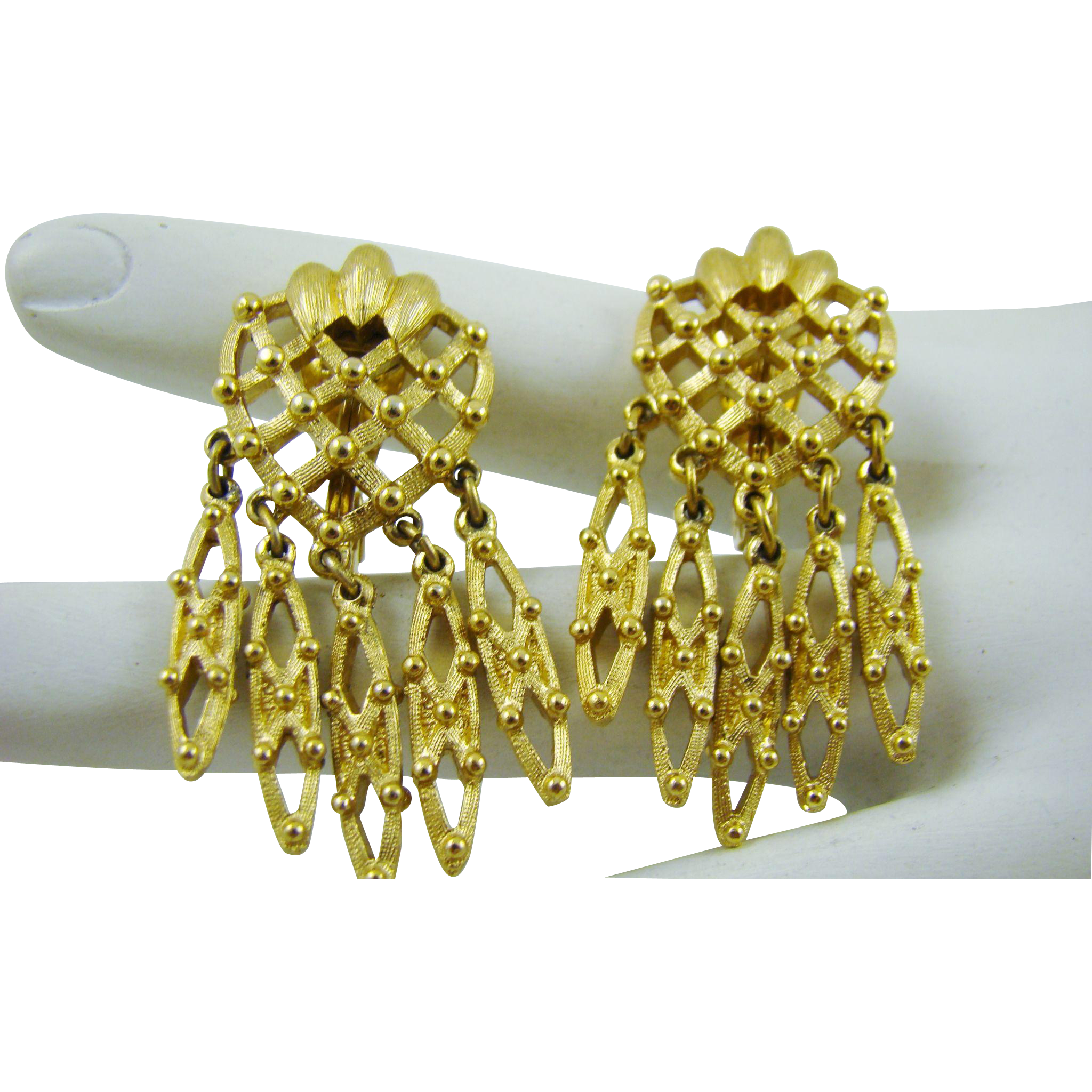 Gold Tone  Mini Chandelier Earrings