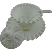 Fenton Milk Glass Hobnail Mayonnaise Set