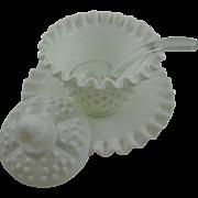 Fenton Milk Glass Hobnail Mayonnaise Set