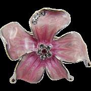 Pink Swirled Enamel and Rhinestone Brooch
