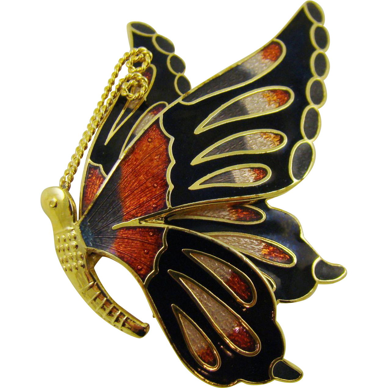 Vintage Fish and Crown Cloisonne Butterfly Brooch