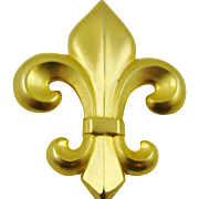 Large Satin Finished Gold Tone Fleur de Lis Brooch