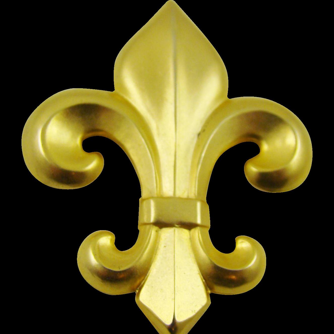 Large Satin Finished Gold Tone Fleur de Lis Brooch