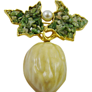 Enamel Walnut Brooch with Jade and Imitation Pearl Signed