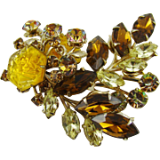 Stunning Amber and Yellow Rhinestone Brooch