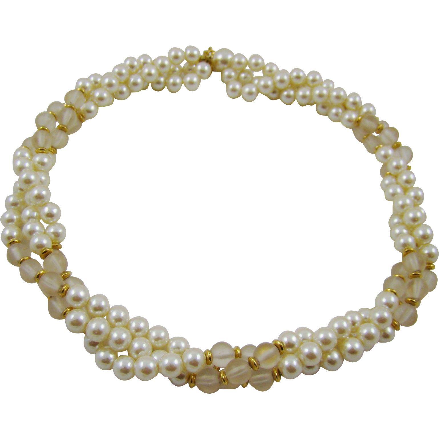 Napier Imitation Pearl and Lucite Triple Strand Necklace