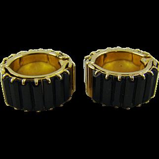 Black Glass Baguette Hoop Earrings