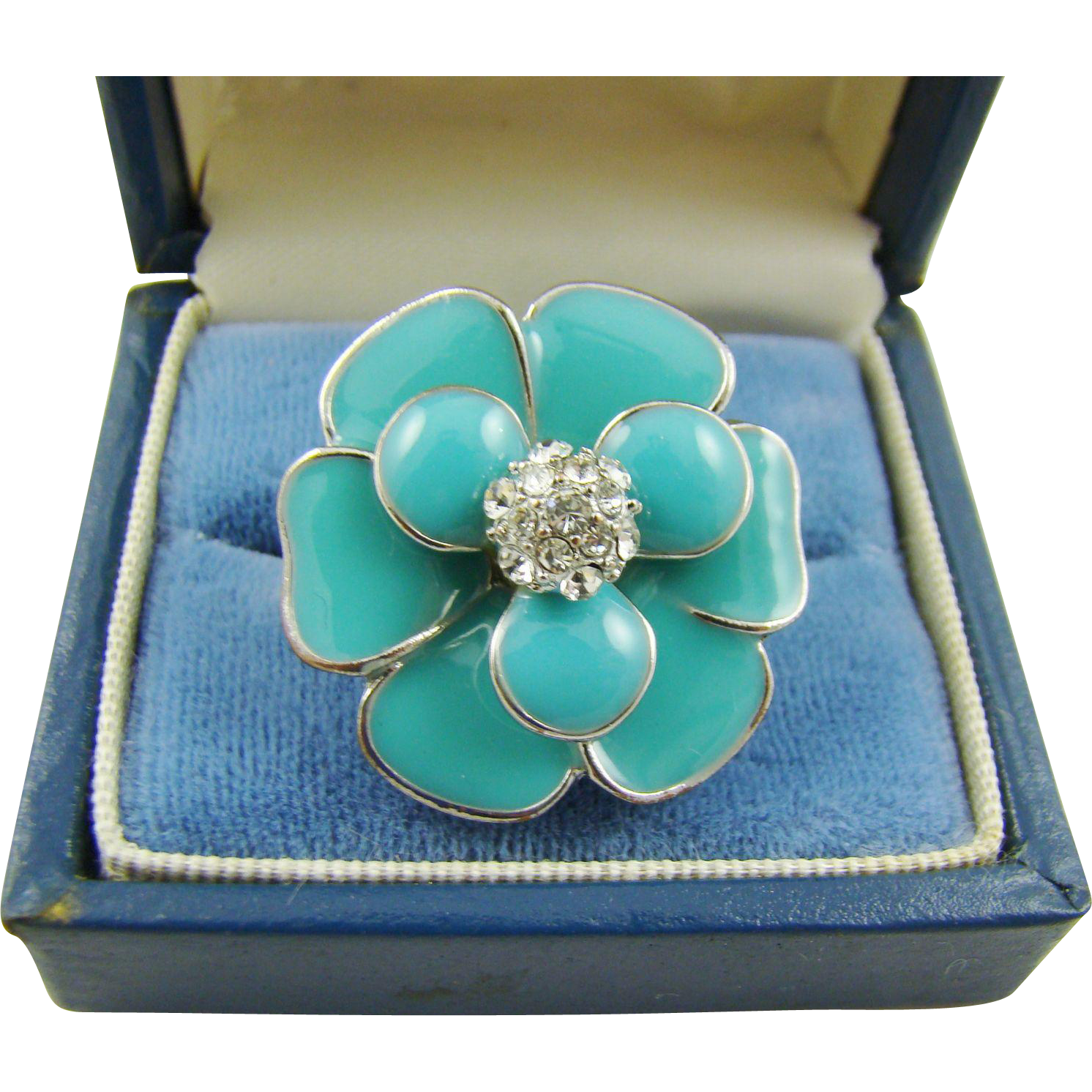 Turquoise Enamel Ring with Rhinestone Cluster