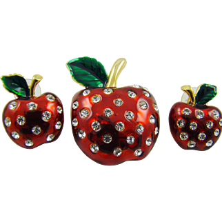 Candy Apple Red Enamel Apple Demi Parure with Rhinestones