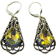 Victorian Style Filigree Swarowski Earrings