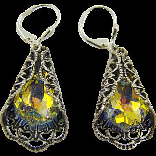 Victorian Style Filigree Swarowski Earrings