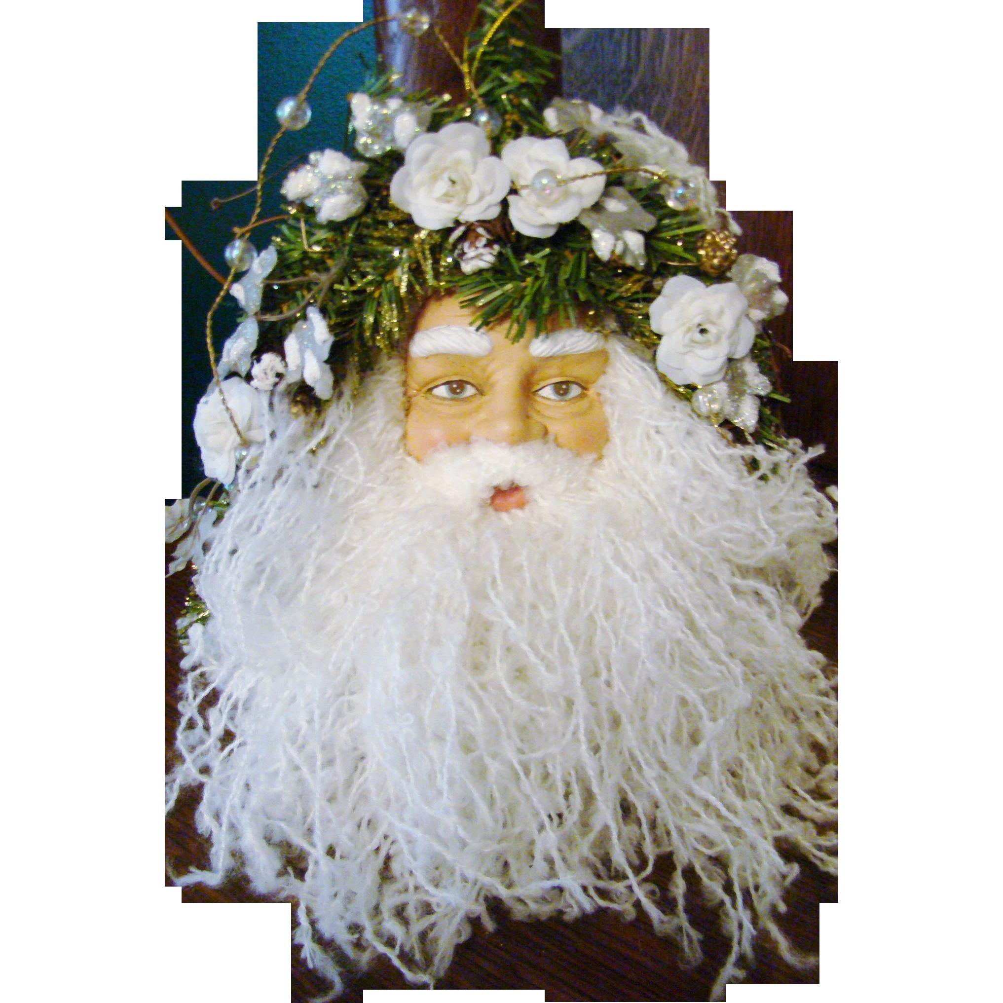 Victorian Style Hanging Santa Face
