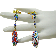 Vintage Moretti Millefiori Glass Bead Earrings
