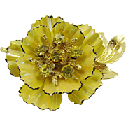 Coro Yellow Enamel and Rhinestone Three-Tiered Brooch