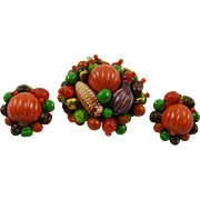 Stunning Fall Vegetable and Bead Brooch and Earrings