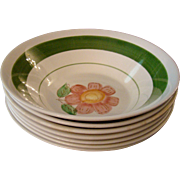 Seven Gumbo Bowls with Fruits and Flowers