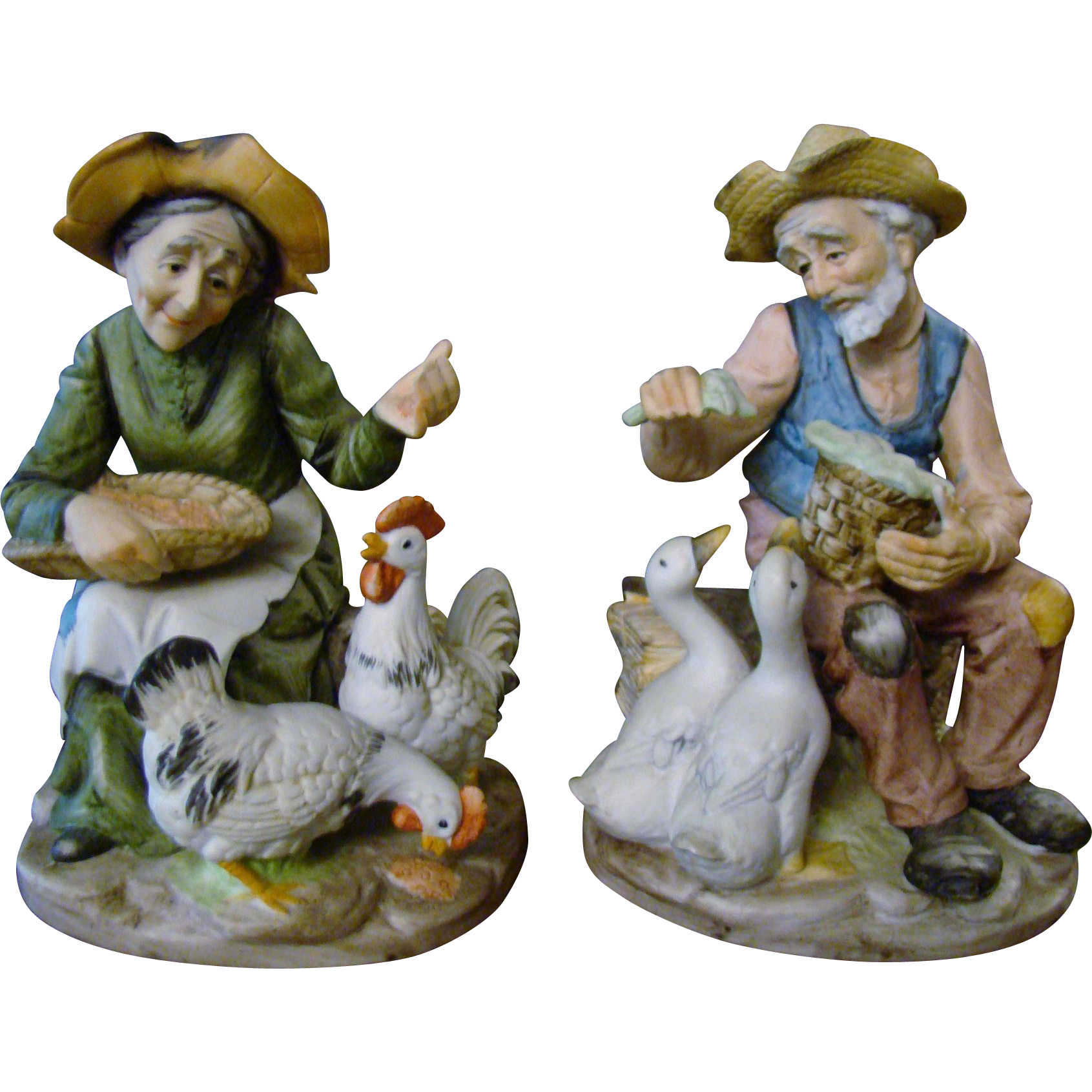 Old Couple Bisque Porcelain Figurines ~ Feeding Ducks and Chickens