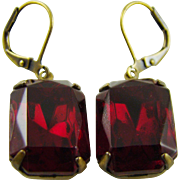 Ruby Red Cushion Cut Swarovski Crystal Earrings
