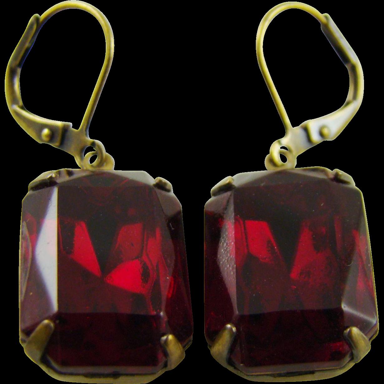 Ruby Red Cushion Cut Swarovski Crystal Earrings