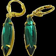 Emerald Green Swarovski Crystal Navette Earrings