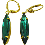 Emerald Green Swarovski Crystal Navette Earrings