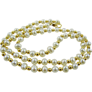 Cultured Pearl and 14Kt Gold Bead Necklace