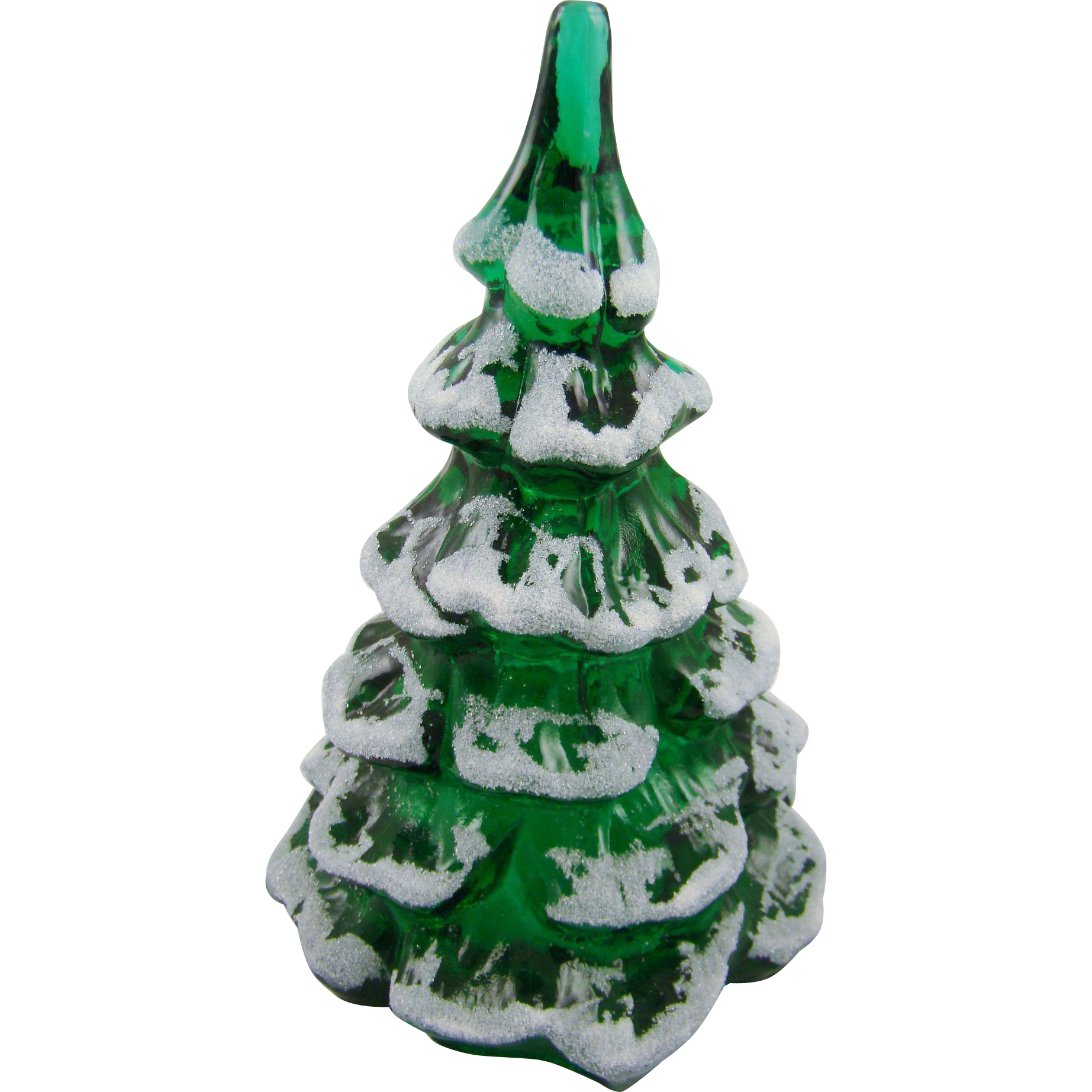 Fenton Snow Covered Green Christmas Tree