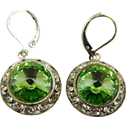 Rivoli Swarovski Peridot Crystal Earrings